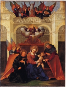 Holy Family with saint Nicholas of Tolentino