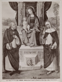 Madonna and Child enthroned with the saints Dominic and Catherine of Siena